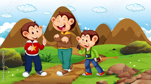 In de dag Kids Monkeys walking in park scene