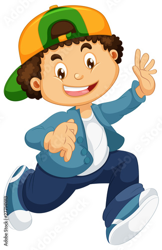 Poster Jeunes enfants Happy boy character on white background