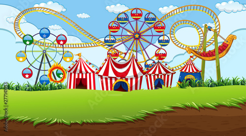 In de dag Kids Fun fair background scene