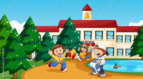 Poster Jeunes enfants Boy and girl at school
