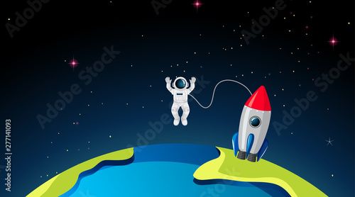 Poster Jeunes enfants Rocketship and astronuat on earth