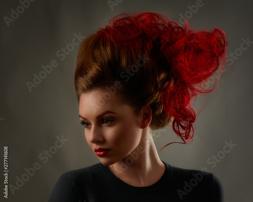 Fototapeta  Portrait of young attractive woman with extravagant hairstyle and bright makeup