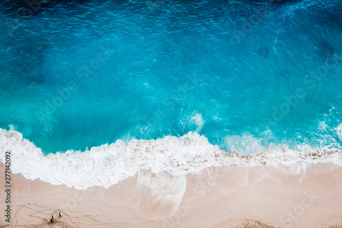 Wild beach, top view, waves