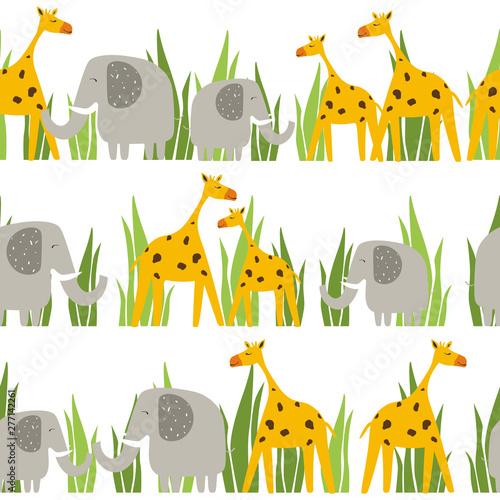 Happy elephants, giraffes in grass, hand drawn backdrop. Colorful seamless pattern with animals. Decorative cute wallpaper, good for printing. Overlapping background vector