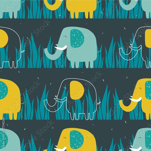 Happy elephants in grass, hand drawn backdrop. Colorful seamless pattern with animals. Decorative cute wallpaper, good for printing. Overlapping background vector