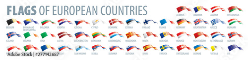 Obraz Set of flags of Europe. Vector illustration - fototapety do salonu