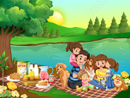 Poster Jeunes enfants A family picnic in the park