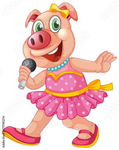 In de dag Kids Cute isolated pig singing