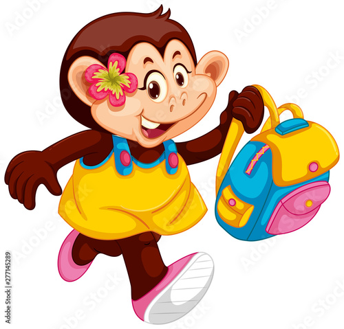 In de dag Kids Cute monkey girl with backpack
