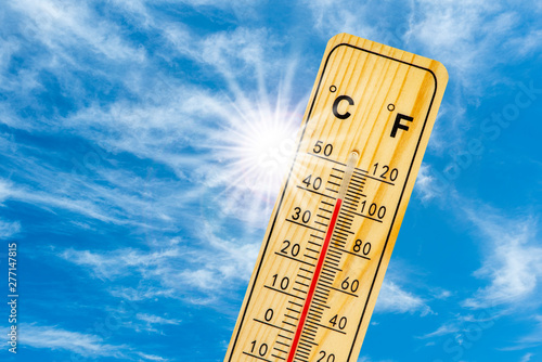 Leinwand Poster Hitze und Thermometer
