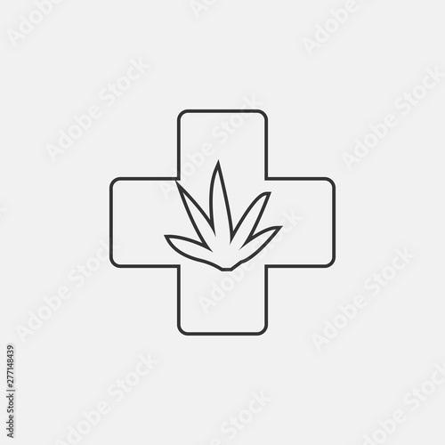 Weed plus vector icon illustration sign Fototapeta