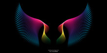 Abstract Symmetry Wings Line Rainbow Colorful Isolated On Black Background. Vector Illustration.