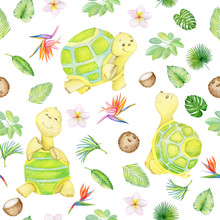 Turtle Is Cute. Seamless Pattern. Isolated. Watercolor.