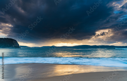 Door stickers Sunset High Tide Swells Up Sunrise Seascape