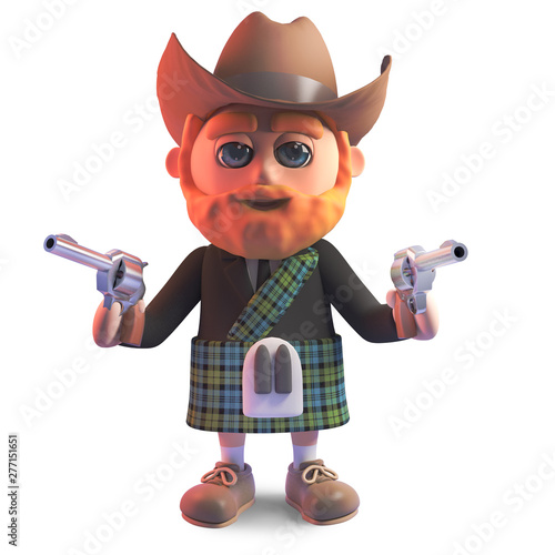 Poster Ouest sauvage Outlaw Scottish man in kilt and stetson cowboy hat points pistols, 3d illustration