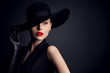 canvas print picture - Woman Beauty in Hat, Elegant Fashion Model Retro Style Portrait on Black