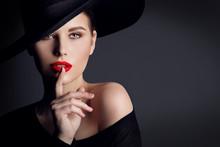 Woman Black Hat, Elegant Fashi...