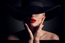 Woman Hat And Lips, Elegant Fa...