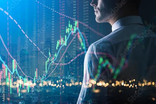 Fotografía  executive smart caucasian businessman  trade and invest in stock market doubke e