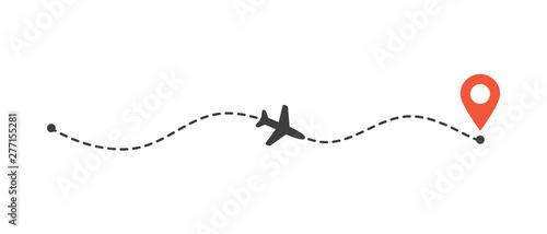 Fotografia Airplane flight path to location mark