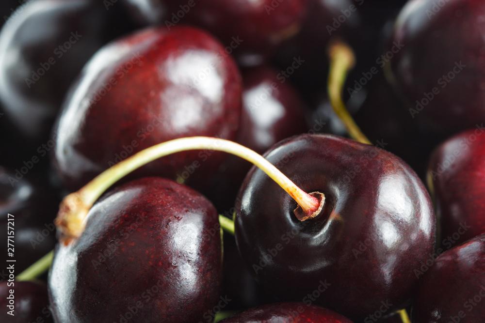 Fototapety, obrazy: garden ripe cherries macro as a fruit background