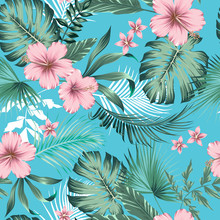 Vector Seamless Botanical Tropical Pattern With Flowers. Lush Foliage Floral Design With Monstera Leaves, Areca Palm Leaves, Fan Palm, Hibiscus Flower, Frangipani Flower. Modern Allover Background.