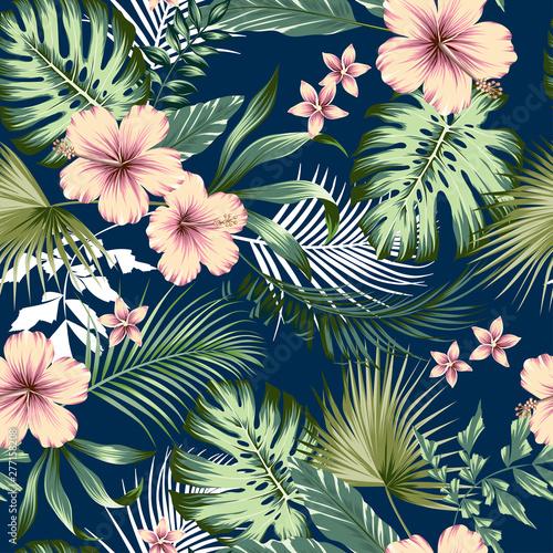 wektor-bez-szwu-botaniczny-tropikalny-wzor-z-kwiatami-kwiatowy-wzor-bujnych-lisci-z-liscmi-monstera-palmami-areca-palmami-wachlarzowymi