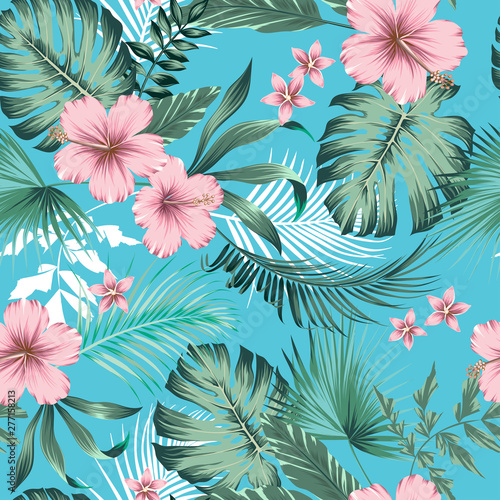 Foto vector seamless botanical tropical pattern with flowers