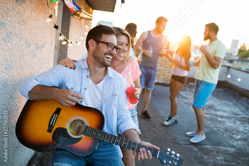 Happy group of young friends having fun in summer - 277162833
