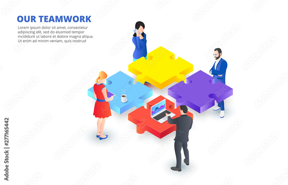 Fototapeta Vector isometric illustration with people holding a puzzle piece. Teamwork concept banner. Landing page