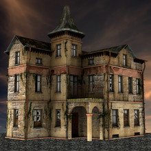 3D Rendered Old Abandoned Buil...