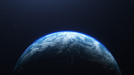 Earth planet viewed from space , 3d render of planet Earth, elements of this image provided by NASA