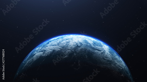 Obraz na plátne Earth planet viewed from space , 3d render of planet Earth, elements of this ima