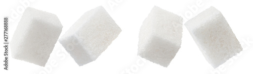Set of white sugar cubes, isolated on white background Poster Mural XXL