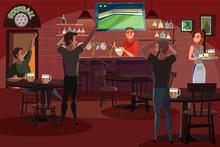 People Drinking Beer In Bar Fl...