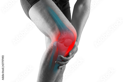 Carta da parati Knee pain, man with legs ache, chiropractic treatments concept, isolated on whit