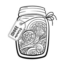 Mason Jar With Marine Contents. Summer Memoris Antistress Colorin Page. Black And White Vector Graphic.