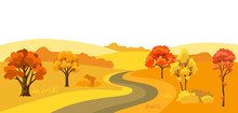 Autumn Background With Landscape And Stylized Trees.