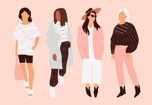 Four Model Girls Dressed In Tr...