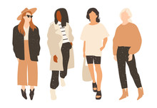 Four Ladies Dressed In Trendy Clothes Standing In Various Poses. Fashion Look.  Female Faceless Characters. Hand Drawn Colored Vector Set. All Elements Are Isolated