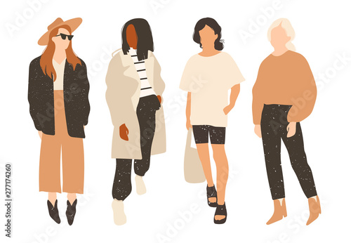 7faf8decefcce Four ladies dressed in trendy clothes standing in various poses. Fashion  look. Female faceless characters. Hand drawn colored vector set. All  elements are .