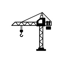 Building Crane Icon Vector. Flat Vector Illustration In Black On White Background. EPS 10