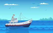 Modern Fishing Boat Flat Vector Illustration