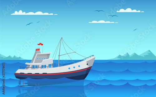 Stampa su Tela Modern fishing boat flat vector illustration