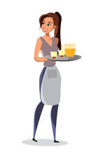 Waitress Carrying Tray In Pub ...