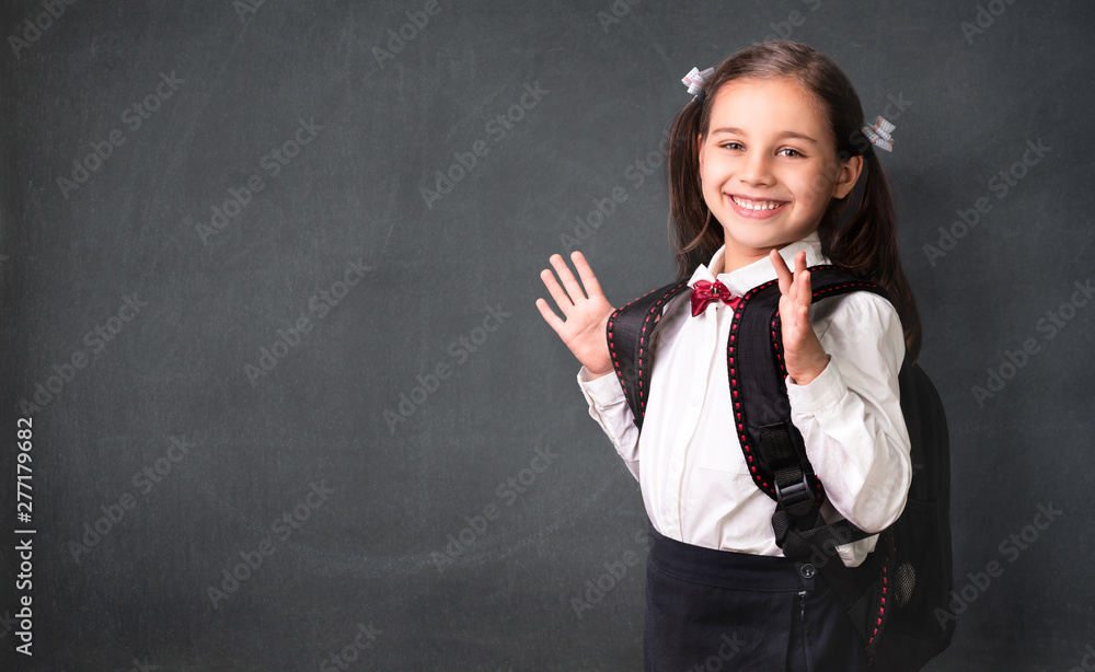 Fototapety, obrazy: Back To School Concept, Portrait of Happy Smiling Child Student at Blackboard