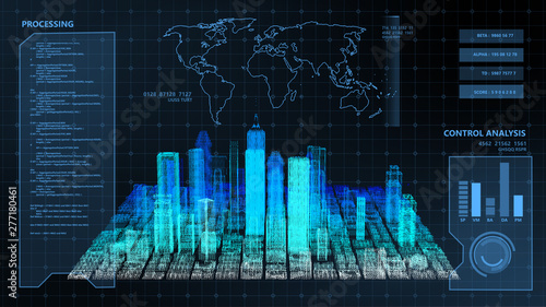 HUD digital Screen monitor display smart city analyze dashboard background. Smart technology IOT of sci-fi future city with world map 3D rendering simulation blue theme