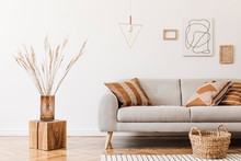 Modern Boho Interior Of Living Room At Cozy Apartment With Gray Sofa, Honey Yellow Pillows And Plaid, Mock Up Paintings, Rattan Basket And Design Personal Accessories. Stylish Home Decor. Template.