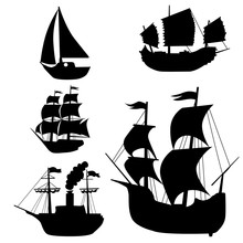Set Of Silhouettes Of Classica...