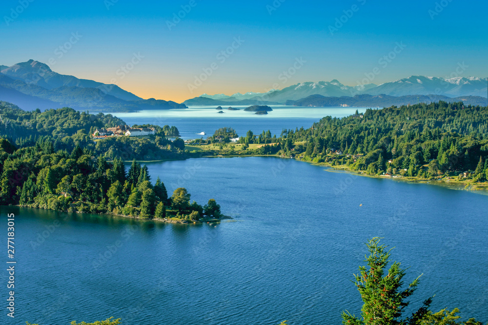 Fototapeta scenic lake district in Patagonia, spectacular  landscape with Andes view